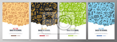 Fototapete Set of Back to School banners with hand draw doodle background. Vector illustration.
