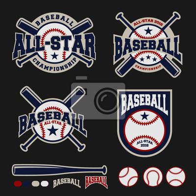 Fototapete Set Of Baseball Sport Logo Label For Clothing Design And Template Vector Illustration