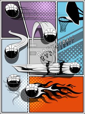 Set of basketballs - comic style