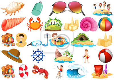Set of beach elements