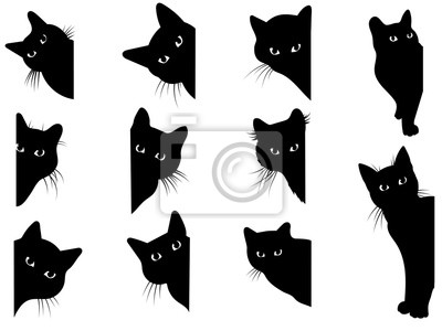 Fototapete Set of black cats looking out of the corner. Collection of cat faces that spy on you. Playing pets. Tattoo.