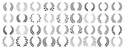 Fototapete Set of black circular foliate laurels branches. Vintage laurel wreaths collection. Hand drawn vector laurel leaves decorative elements. Leaves, swirls, ornate, award, icon. Vector illustration.