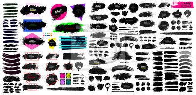 Fototapete Set of black paint, ink brush, brush. Dirty element design, box, frame or background for text. Blank shapes for your design. Line or texture. Vector illustration. Isolated on white background.