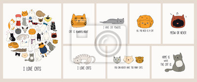 Fototapete Set of cards with cute color doodles of different cats with funny quotes for cat lovers. Hand drawn vector illustration. Line drawing. Design concept for poster, t-shirt, fashion print.