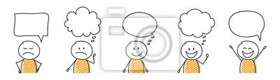 Fototapete Set of cartoon stickmen with empty speech bubbles. Vector