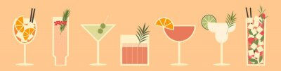 Fototapete Set of cocktails. An illustration of classical drinks in different types of glasses. Vector illustration of summer cocktails. Banner with soft and alcohol drinks.
