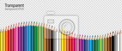 Fototapete Set of colored pencil collection evenly arranged - seamless in both directions - isolated vector illustration craynos on transparent background.