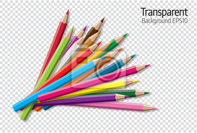 Fototapete Set of colored pencil collection - isolated vector illustration colorful pencils on transparent background.