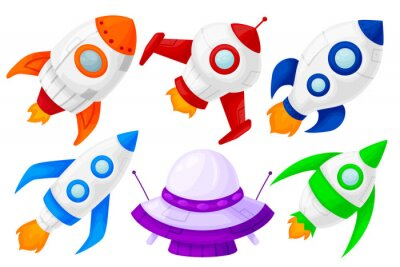 Set of colorful launching space rockets, different shapes and colors. Cartoon and flat style. Vector illustration isolated.