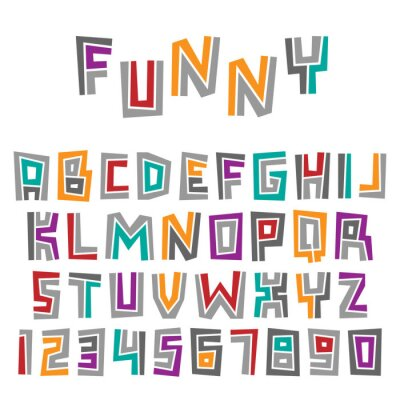 Set of colorful letters and numbers. Vector graphic alphabet symbols in cartoon style.