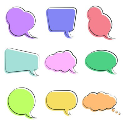 Set of colorful speech bubbles in different shapes. Cartoon doodle concept. Template design for questions, business, chat, media, social, communication, sale, notes, presentation, advertising.