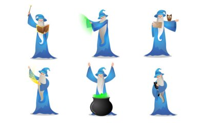 Set of colorful wizard character in different action situations. Vector illustration in flat cartoon style.