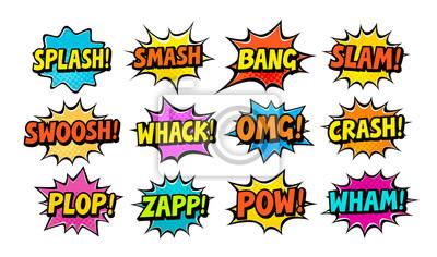 Fototapete Set of comic speech bubbles. Cartoon vector illustration