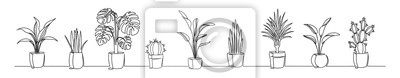Fototapete Set of continuous one line drawing of a flowers in a pots