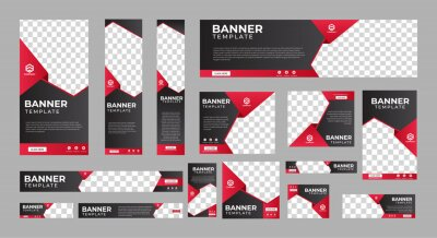 Fototapete set of corporate web banners of standard size with a place for photos. Vertical, horizontal and square template. vector illustration EPS 10