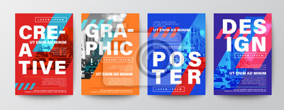 Fototapete Set of Creative Graphic Design layout. Typography on diagonal grid with red and blue background for Poster, Brochure, Flyer, leaflet, Annual report, Book cover, banner. Template in A4 size.