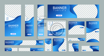 Fototapete set of creative web banners of standard size with a place for photos. Vertical, horizontal and square template. vector illustration