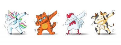 Fototapete Set of cute cartoon characters in dub dance poses. Hand drawn unicorn, cat, chicken, cow doing dabbing. Vector Illustration for kids isolated on white background.