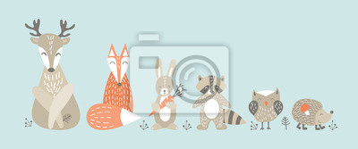 Fototapete Set of cute cartoon woodland animals in scandinavian style. Funny characters on blue background. Flat vector illustartion.