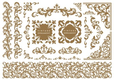 Fototapete set of decorative elements for design. vintage ornament set. borders and frames.