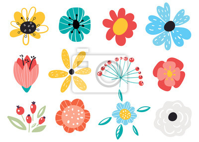 Fototapete Set of decorative floral design elements. Flat cartoon vector illustration. Illustration of nature flower spring and summer in garden.