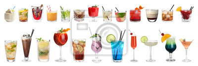 Fototapete Set of different delicious cocktails on white background