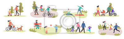 Fototapete Set of eight different family activities in spring with children and parents, riding bicycles, using scooters, exercising, walking in park, walking dog, playing in groups, colored vector illustration
