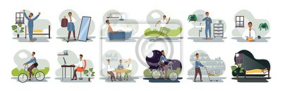 Fototapete Set of everyday leisure and work activities performing by young man. Bundle of daily life scenes. Girl sleeping, eating, working, doing sports, grocery shopping. Flat cartoon vector illustration.