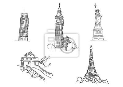 Fototapete Set of famous world landmarks