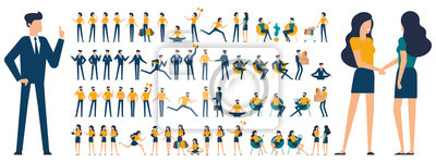 Fototapete Set of  flat design  characters and poses