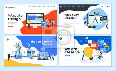 Fototapete Set of flat design web page templates of graphic design, website design and development, social media, business service. Modern vector illustration concepts for website and mobile website development