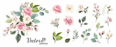 Fototapete Set of floral branch. Flower pink rose, green leaves. Wedding concept with flowers. Floral poster, invite. Vector arrangements for greeting card or invitation design