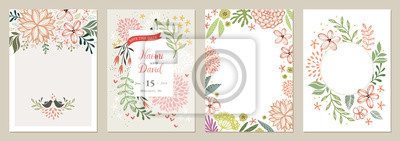 Fototapete Set of floral universal artistic templates. Good for greeting cards, invitations, flyers and other graphic design.