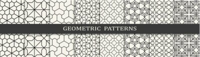 Fototapete Set of geometric seamless patterns. Abstract geometric graphic design simple pattern. Seamless geometric lines pattern.