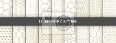 Fototapete Set of Geometric seamless patterns. Abstract geometric  hexagonal  graphic design print 3d cubes pattern. Seamless  geometric cubes pattern.