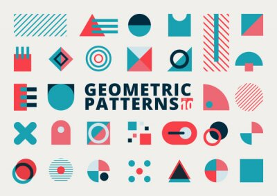 Fototapete Set of geometric shapes flat design blue and pink color on white background.