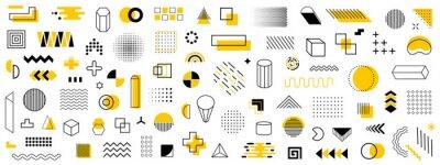 Fototapete Set of geometric shapes. Memphis design retro elements. Collection trendy halftone geometric shapes. Retro funky graphic, 90s trends designs and vintage print element collection