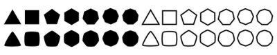 Fototapete Set of geometric shapes, polygons with various number of sides: triangle, quadrangle, pentagon, hexagon, heptagon, octagon, nonagon icons collection, sharp and slightly rounded version - vector