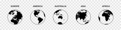 Fototapete Set of Globe Illustration Vector of 5 Continents : Europe America Australia Asia Africa. World map vector illustration black silhouette bundle