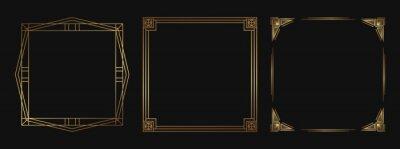 Fototapete Set of golden decorative frames. Isolated Art Deco line art borders with empty space.
