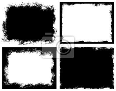 Fototapete Set of grunge background. Broken dirty rough frames.