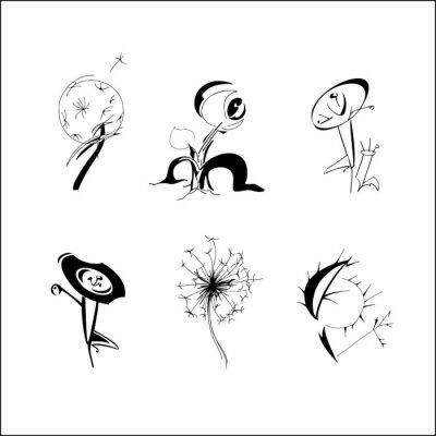 Fototapete Set of hand drawn fantasy flowers. Spring summer flowers dandelion in different form, patterned design elements for logo, tatoo, cards. Vector illustration