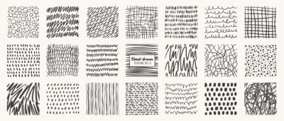 Fototapete Set of hand drawn patterns isolated. Vector textures made with ink, pencil, brush. Geometric doodle shapes of spots, dots, circles, strokes, stripes, lines. Template for social media, posters, prints