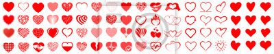 Fototapete Set of hearts icon, heart drawn hand - stock vector