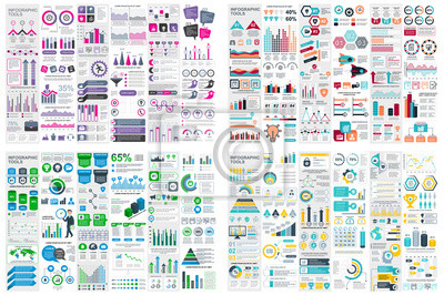 Fototapete Set of infographic elements data visualization vector design template. Can be used for steps, options, business process, workflow, diagram, flowchart concept, timeline, marketing icons, info graphics.