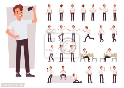Fototapete Set of man character vector design. Presentation in various action with emotions, running, standing and walking.
