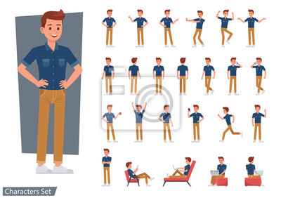 Fototapete Set of man wear blue jeans shirt character vector design. Presentation in various action with emotions, running, standing and walking.