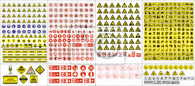 Fototapete set of mandatory sign, hazard sign, prohibited sign, occupational safety and health signs, warning signboard, fire emergency sign. for sticker, posters, and other material printing. easy to modify.