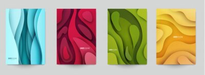 Fototapete Set of minimal template in paper cut style design for branding, advertising with abstract shapes. Modern background for covers, invitations, posters, banners, flyers, placards. Vector illustration.