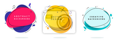 Fototapete Set of modern abstract vector banners. Flat geometric shapes of different colors with black outline in memphis design style. Template ready for use in web or print design.